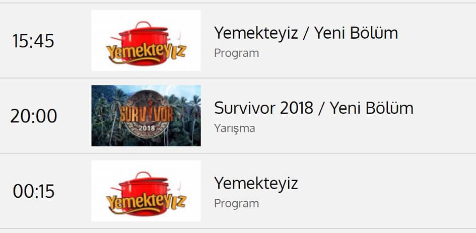 Survivor 2018 hangi günler