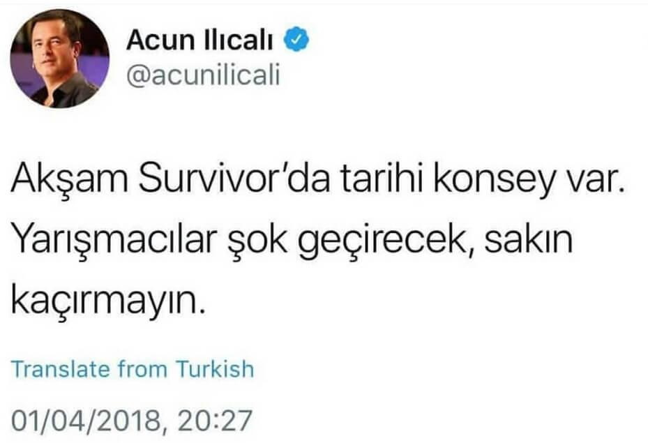 Survivor 2018 1 Nisan sonucu