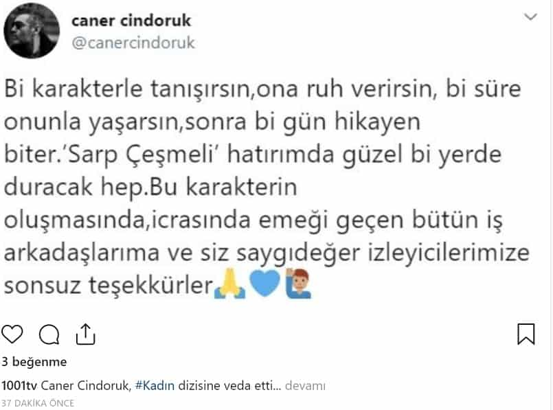 Caner Cindoruk Kadın Dizisinden Ayrıldığını Sosyal Medyadan Açıkladı
