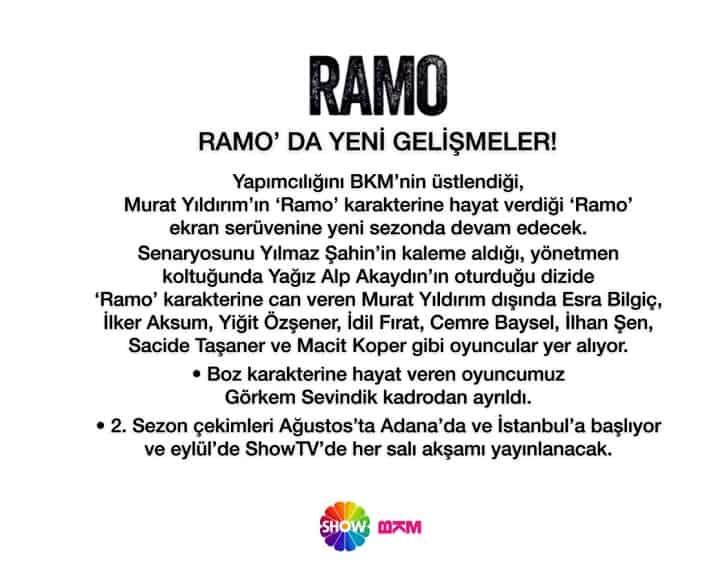 Ramo Yeni Sezon açıklaması